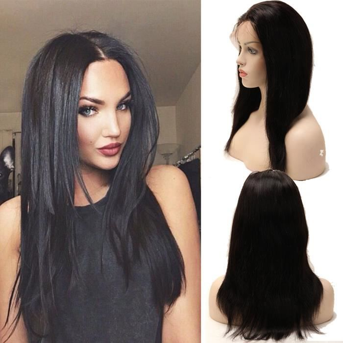 14 perruque bresilienne cheveux humains naturels perruque femme raide avec full lace lace wig. Black Bedroom Furniture Sets. Home Design Ideas