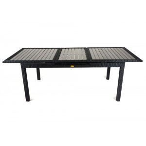 Table de jardin en resine tressee rallonge achat vente table de jar - Table de jardin tressee ...