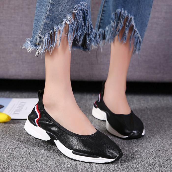 Femmes Flats Mode Mocassins Slip respirant Casual Shoes Chaussures Lazy Sneakers Noir