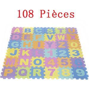 TAPIS ÉVEIL - AIRE BÉBÉ JEOBEST® 108 Pcs Tapis Mousse Bébé (Lettres + Chif