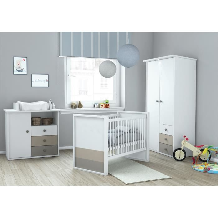 Plage chambre b b compl te 3 pi ces armoire lit for Bebe 9 chambre jules