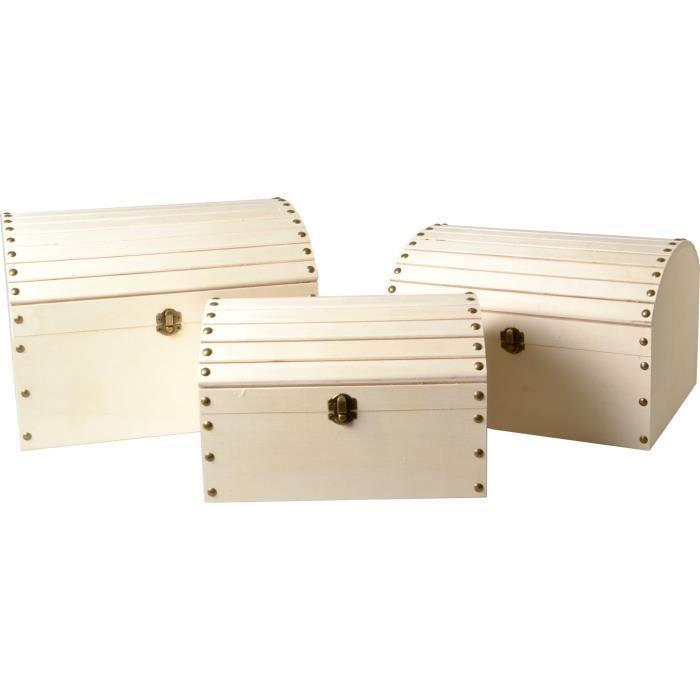 Coffres Gigognes en bois 3 pièces - Artémio Beige