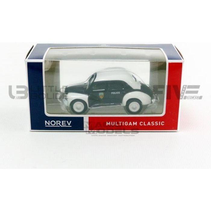 Voiture Miniature de Collection - NOREV 1/64 - RENAULT 4 CV Pie Police - Black / White - 319251-4CV-POL
