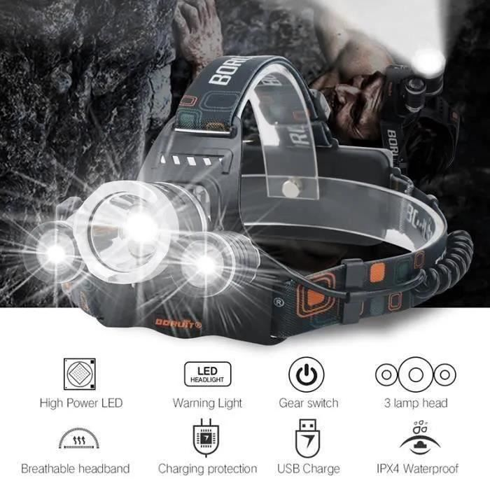 Lampe Frontale Super Puissante de,Lampe Torche Frontale Ampoules LED avec 2pcs 18650 Batteries et USB Câble