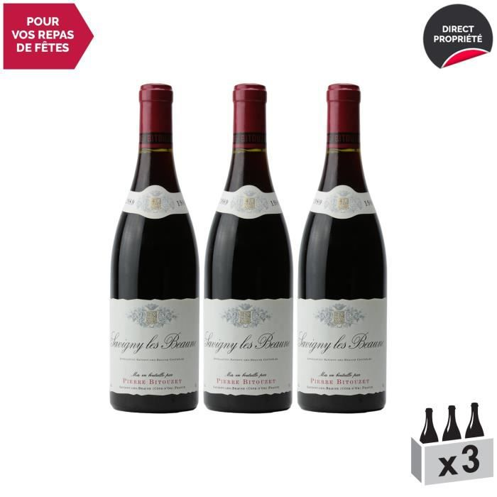 Savigny-lès-Beaune Rouge 1989 - Lot de 3x75cl - Pierre Bitouzet - Vin AOC Rouge de Bourgogne - Cépage Pinot Noir