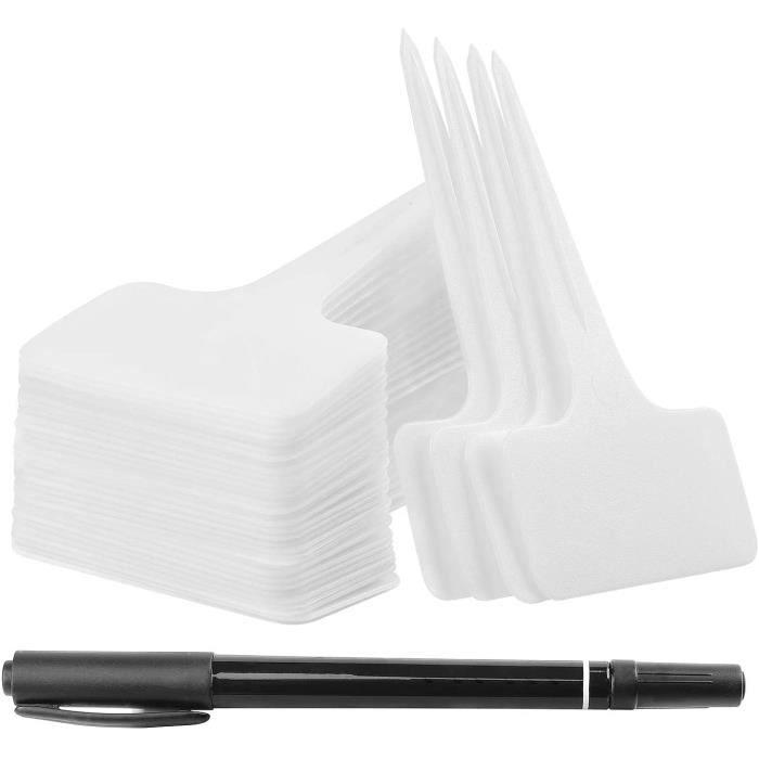 100 étiquettes de plantes marqueurs noirs de type T, étiquettes de jardin en plastique 6 x 10 cm avec stylo étanche blanc
