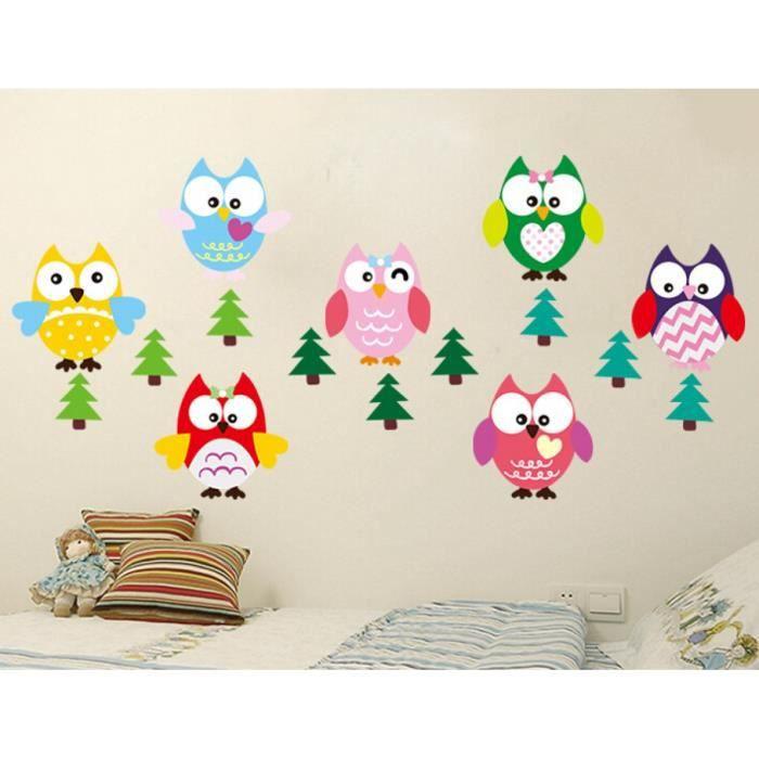 Animal Dessins Animés Mur Hibou Arbre Autocollants Pour Les Chambres D'Enfants Garçons Fille À La Maison Canapé Stickers Muraux En