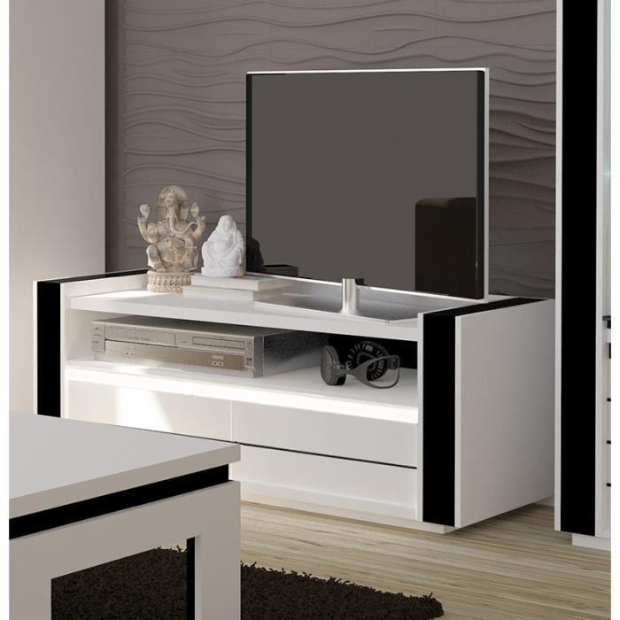 Meuble tv LINA blanc et noir laqué + LED