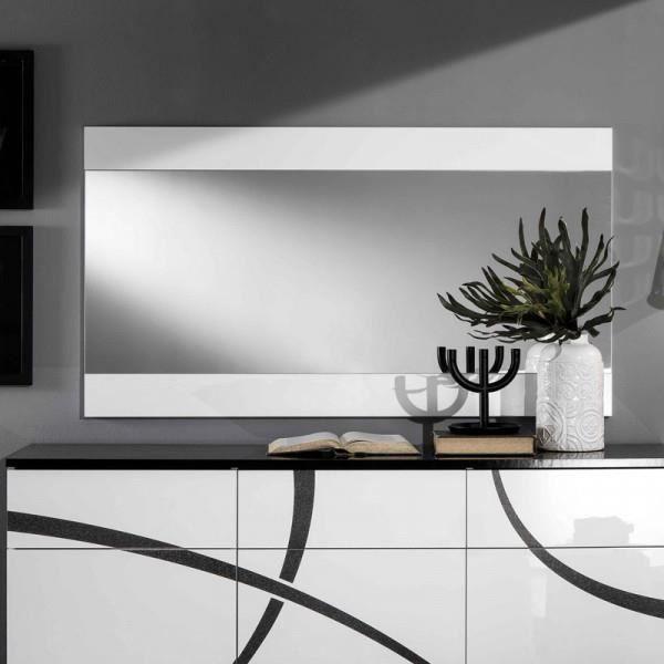 Miroir rectangulaire Blanc laqué - CROSS - Blanc - Bois - L 150 x l 2 x H 81 cm - Miroir