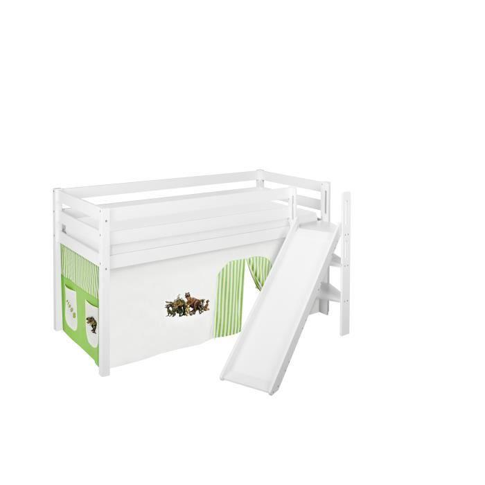 Lit surélevé ludique JELLE 90x200 cm Dinos vert beige - LILOKIDS - blanc laqué - avec toboggan incliné et rideaux