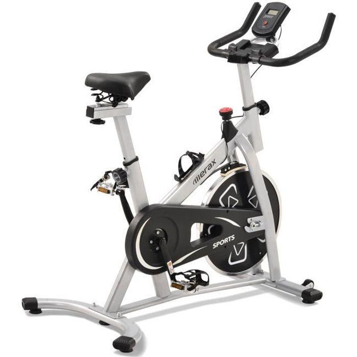 Vélo biking Vélo d'appartement spin bike Intérieur aerobie spining Vélo, Siège et guidon réglable, gris/noir