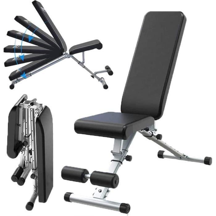 Three Banc d'haltères Chaise de fitness auxiliaire réglable multifonctionnelle - Noir