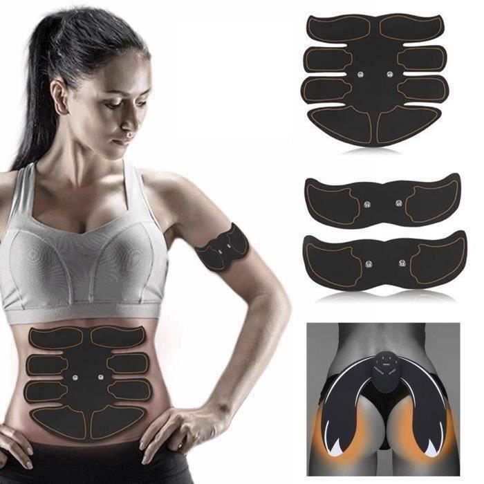 Rn Appareil de musculation abdominal Bras Cuisses Ceinture abdo Fitness Entraînement+EMS Hips Trainer (Batteries Charge)