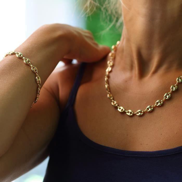 Bracelet et collier pour femme grain de café or