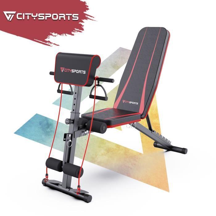 Citysports Banc de Musculation Banc d'entraînement pliable 7 Hauteurs réglables Multifonction super durable Charge 150 kg S1