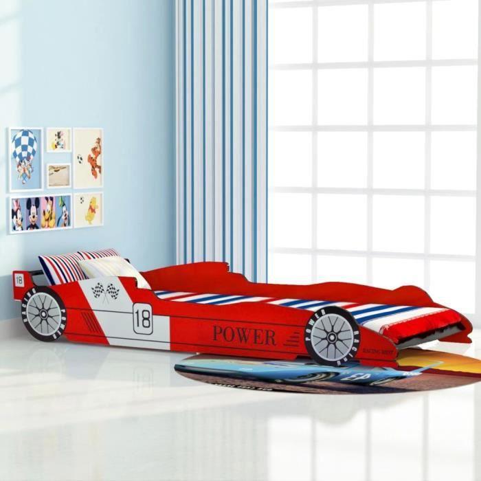 &&3416Lit voiture de course Cadre de lits Lits de bébé Lit voiture de course pour enfants 90 x 200 cm Rouge