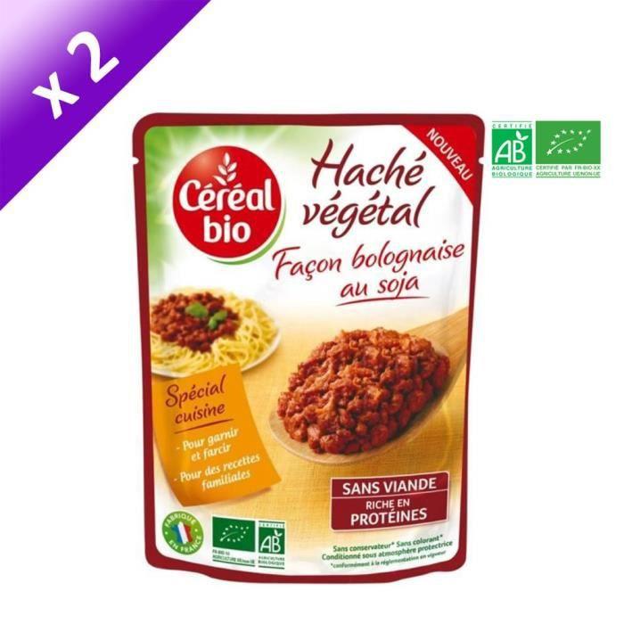 [LOT DE 2] Haché végétal bolognaise au soja 250 g Cereal Bio