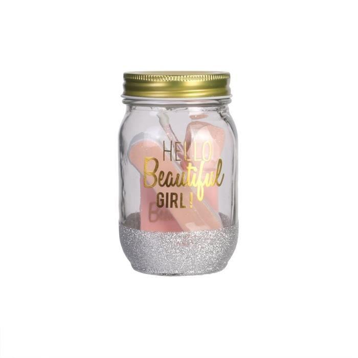 COSMETIC CLUB Coffret manucure en bocal Mason Jar Beauté- 6 pièces - Rose poudré