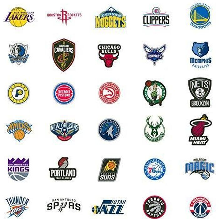 30 NBA Stickers Basketball Team Logo Complete Set All 30 Teams Die Cut Lakers Bulls Heat Warriors Celtics Cavaliers Thunder Spurs