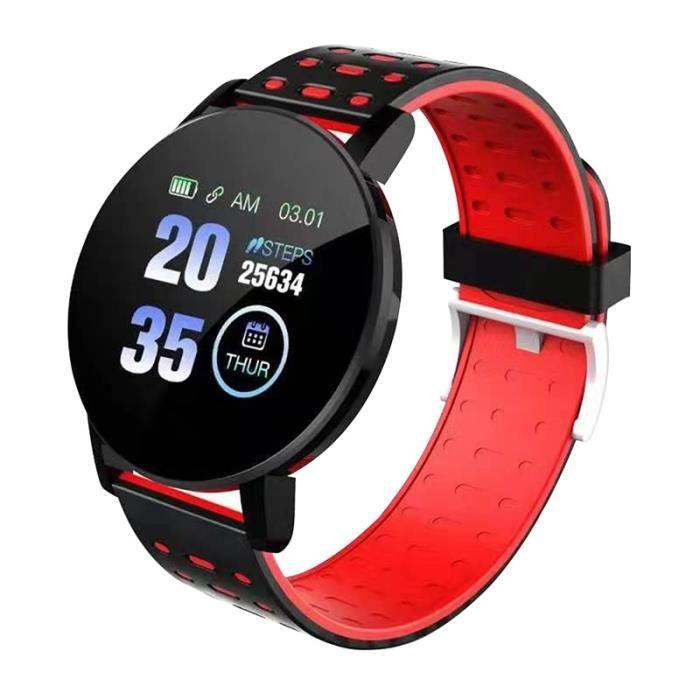 119 Plus Smart Bracelet Montre Fréquence Cardiaque Montre Intelligente Bracelet Smartwatch Pour Android IOS-rouge