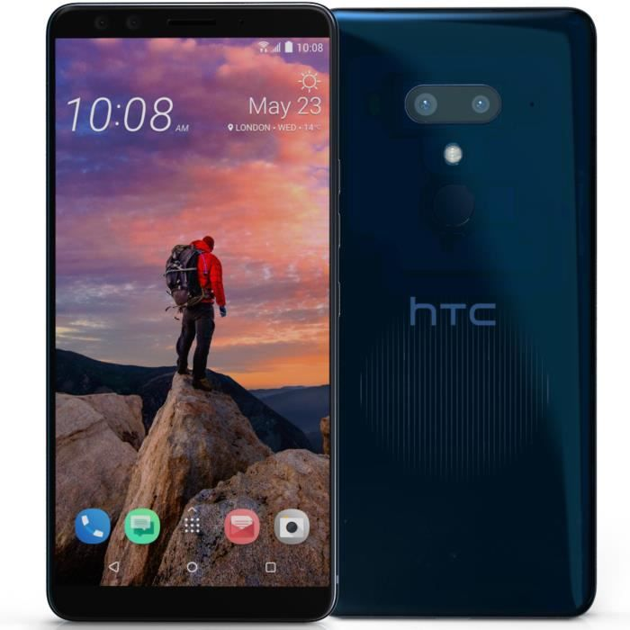 HTC U12+ - Double SIM - 64 Go - Bleu transparent