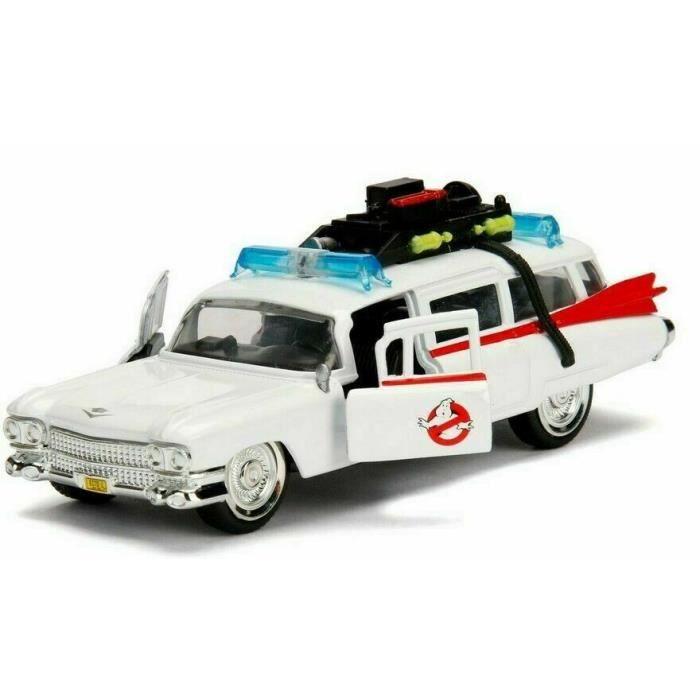 Voiture Cadillac Miller Meteor Ghostbusters ECTO 1 Ambulance SOS Fantômes Métal 1/32
