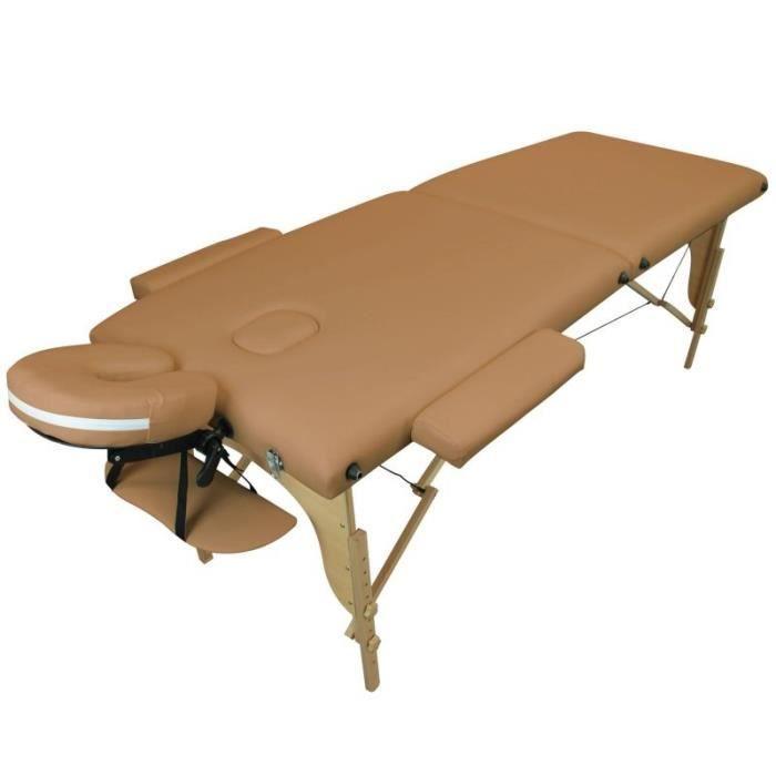 Table de massage pliante 2 zones en bois avec panneau Reiki + Accessoires et housse de transport - Marron clair