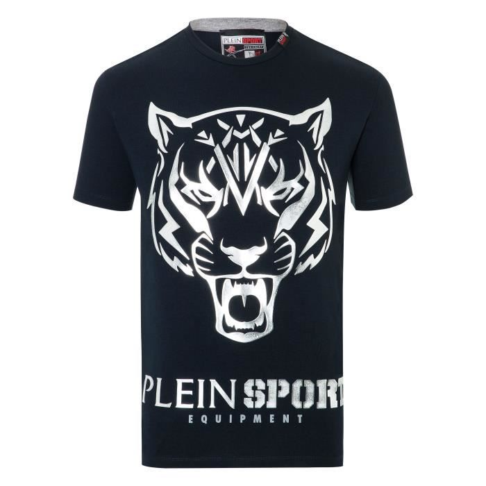 PLEIN SPORT Tshirt - Black and White - For Men - édition -Edberg- - Référence : MTK1845SJY001N0270
