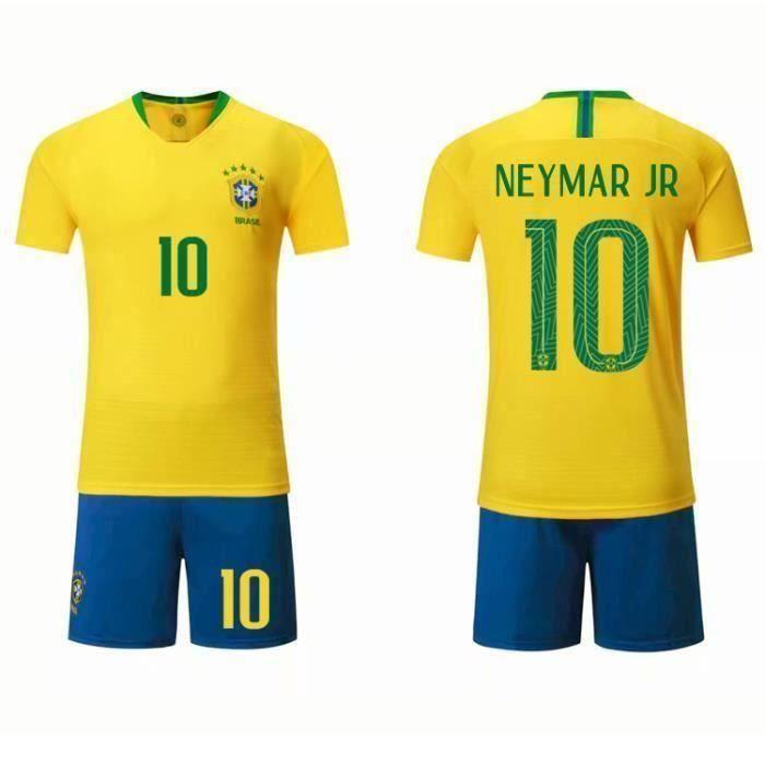 NEYMAR JR 10 Équipe nationale brésilienne Jersey Maillot et Shorts de football Enfant/Homme - Jaune