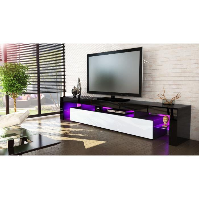 Meuble tv noir et blanc 189 cm sans led