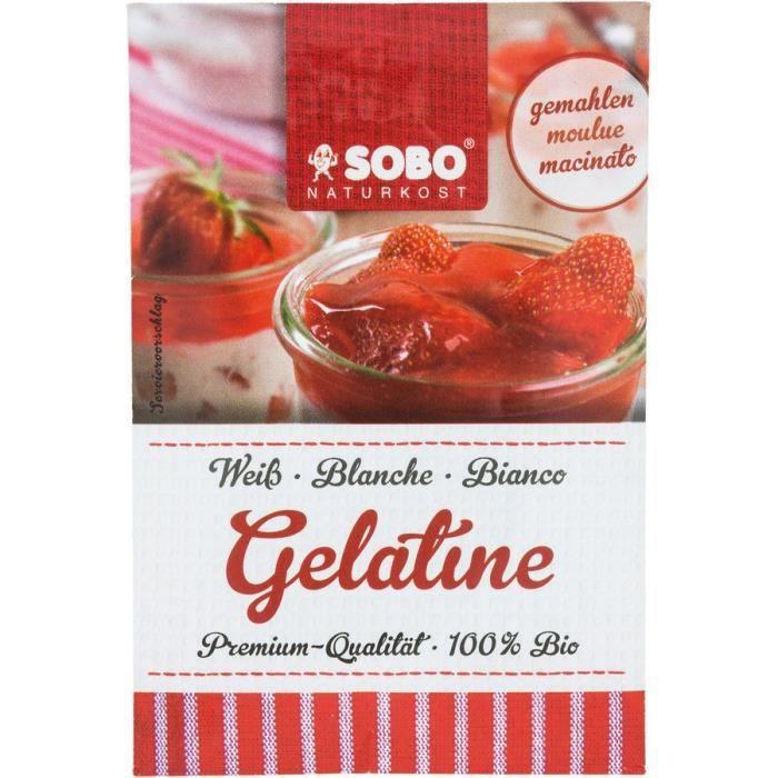 Gélatine en poudre bio SOBO Poudre de gélatine bio pure peau de porc Gélatine alimentaire bio 9g