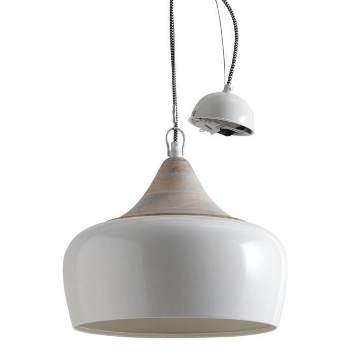 Lampe suspension en m tal laqu et bois achat vente for Lampe suspension en bois