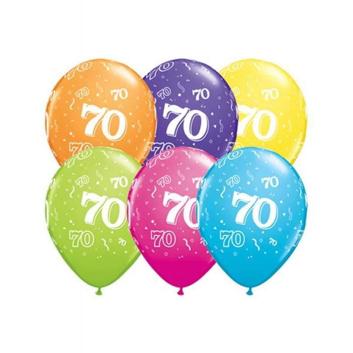 ballons anniversaire 70 ans x6 achat vente kit de decoration cdiscount. Black Bedroom Furniture Sets. Home Design Ideas