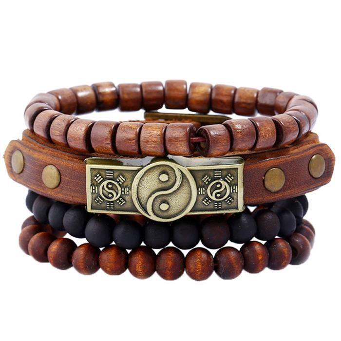BESTEEL 2-4 Pcs Pierre Perles Bracelet pour Hommes Femmes Bracelets Relation Tress/é Pierre Naturelle R/églable 8 MM Perles