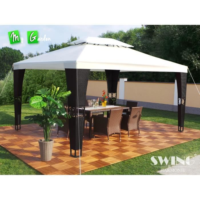tonnelle 4x3 pavillon de jardin royal rotin synthe achat vente tonnelle barnum tonnelle. Black Bedroom Furniture Sets. Home Design Ideas