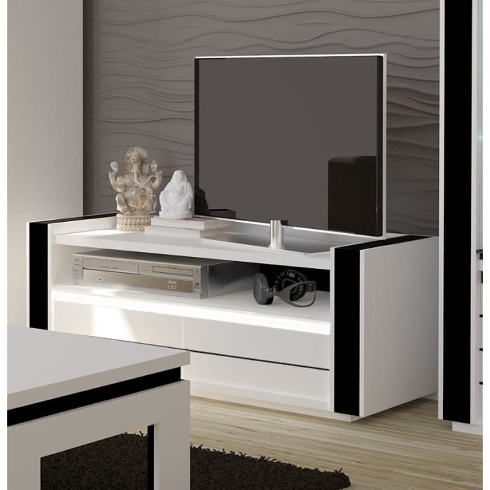meuble tv lina blanc et noir laqu led achat vente meuble tv meuble tv lina blanc et noi. Black Bedroom Furniture Sets. Home Design Ideas