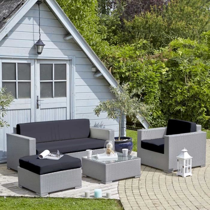 salon de jardin en r sine tress e gris noir c achat. Black Bedroom Furniture Sets. Home Design Ideas