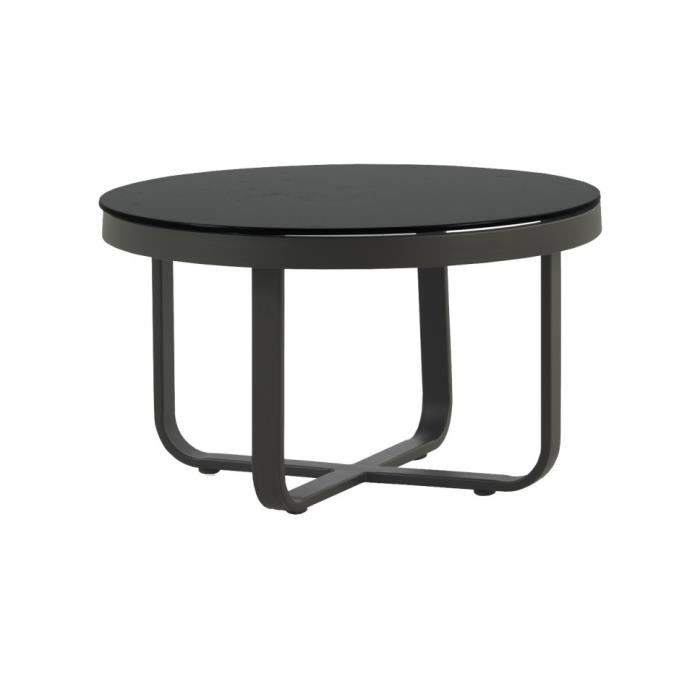 table basse ronde aluminium gris plateau verre tremp noir 60 achat vente table basse. Black Bedroom Furniture Sets. Home Design Ideas