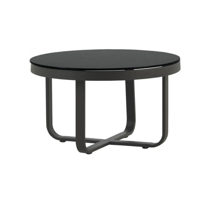 Table basse ronde aluminium gris plateau verre trempé noir ...