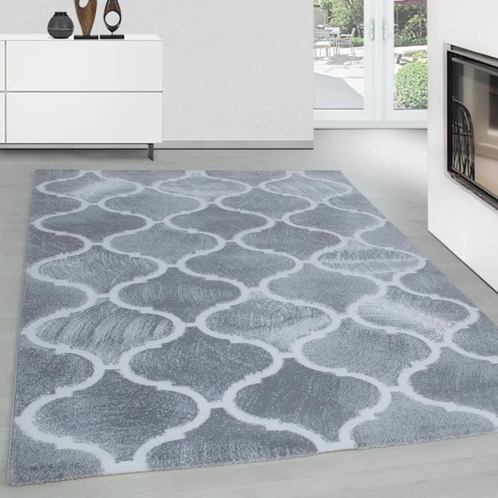Tapis Moderne Pile courte Design Marocain Effet 3D Séjour Gris Blanc  Blanc-TRENDY-TOSCANA1201703180LIGHTGREY[120 cm x 170 cm ]