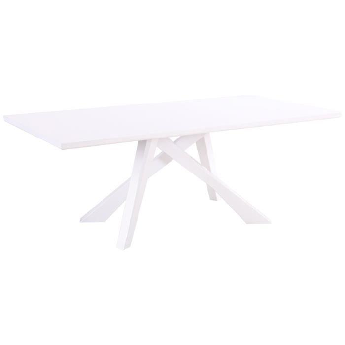 blanc laqué croisés coloris 200cm avec design pieds Table jL5Rq34A