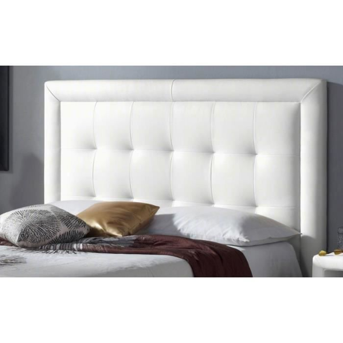 t te de lit pu square couleur blanc mesure lit de 140 cm de large achat vente t te de. Black Bedroom Furniture Sets. Home Design Ideas