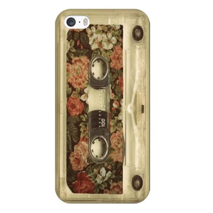 coque iphone 5 5s se k7 tape cassette retro fleur