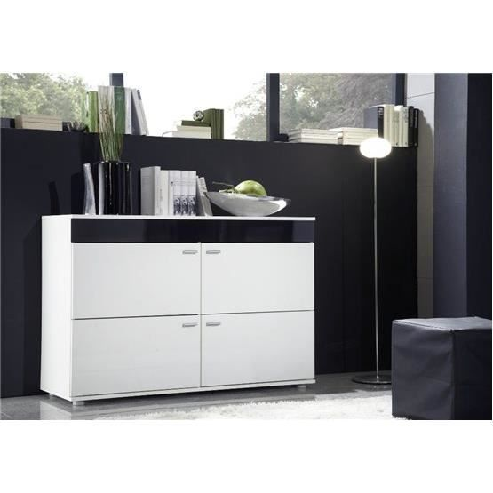 commode design olgo blanc et noir achat vente buffet bahut commode design olgo blanc e. Black Bedroom Furniture Sets. Home Design Ideas