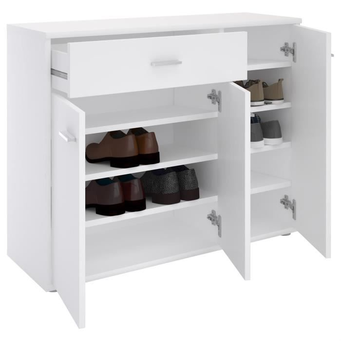 meuble chaussures commode rangement mdf m lamin blanc achat vente meuble chaussures. Black Bedroom Furniture Sets. Home Design Ideas
