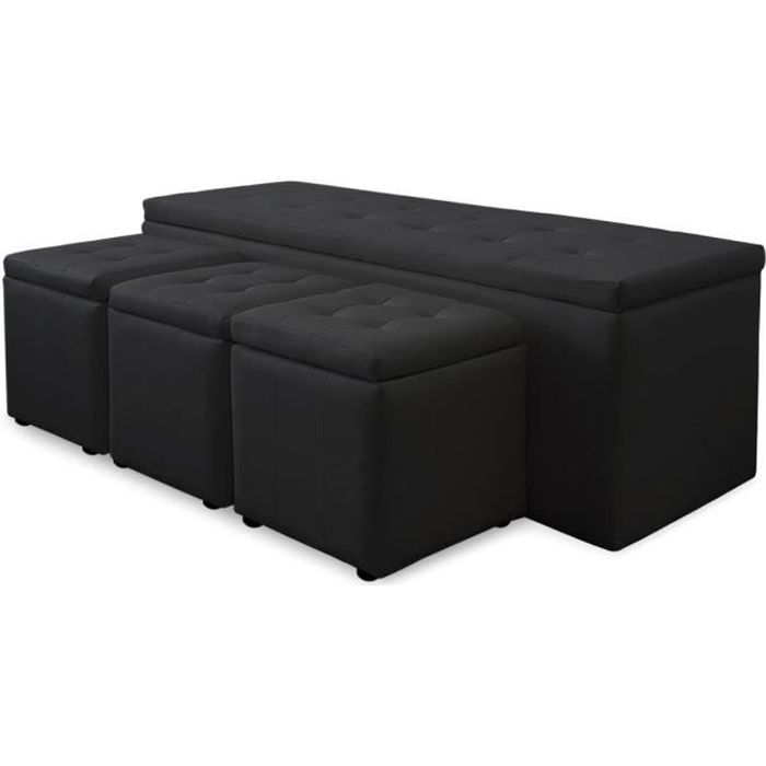 banquette coffre panky xl 3 poufs noir achat vente banquette cdiscount. Black Bedroom Furniture Sets. Home Design Ideas