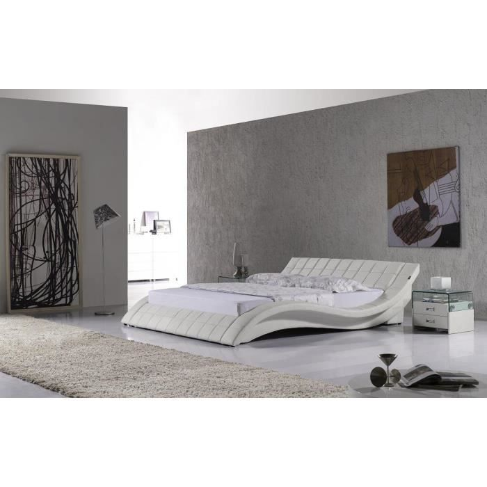 lit design en similicuir blanc raul 180x200 cm achat. Black Bedroom Furniture Sets. Home Design Ideas