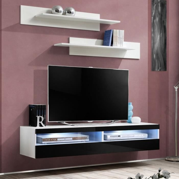 paris prix meuble tv mural design fly iv 160cm noir. Black Bedroom Furniture Sets. Home Design Ideas