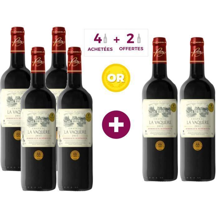 4 ACHETEES = 2 OFFERTES - Château la Vaquère 2011 Bordeaux Supérieur - Vin Rouge du Bordelais