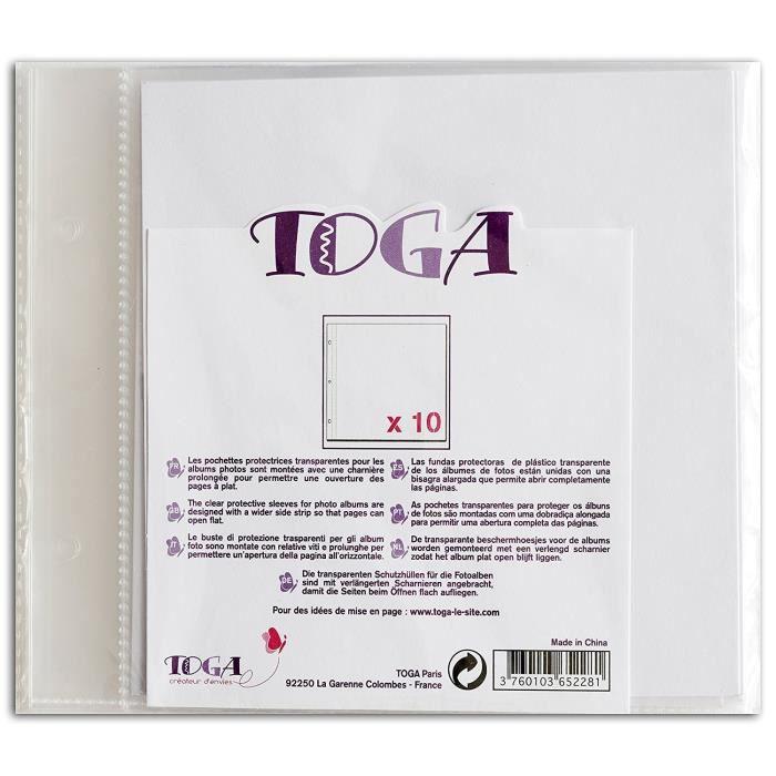 TOGA Lot de de 10 pochettes transparents pour album 20x20 cm